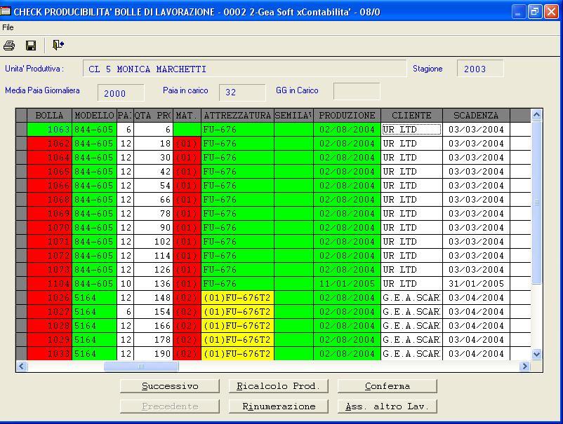 La schermata di programmazione della produzione in Gea Pelle